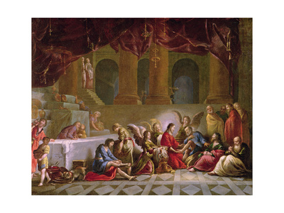 Jesus Washing the Disciples Feet Giclee Print by Claude Vignon