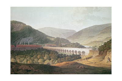 View of a Stone Bridge across the Valley and River at Risca in Monmouthshire Giclee Print by Edward Pugh