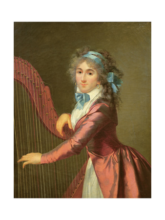 Portrait of a Young Harpist Giclee Print by Adele Romany