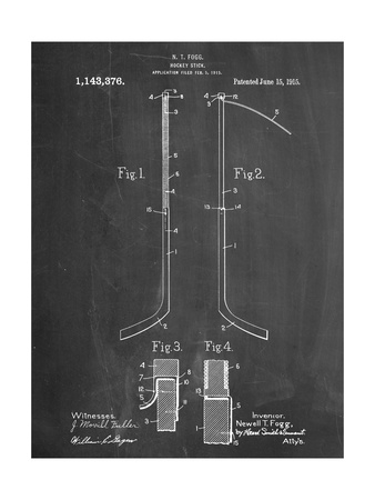 Hockey Stick Patent Metal Print