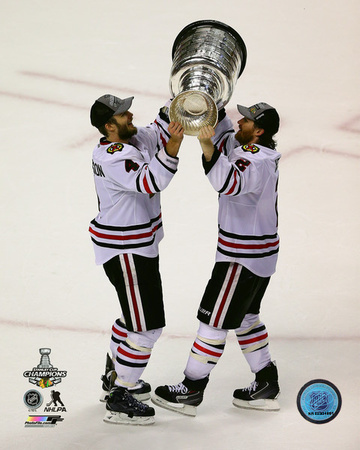 Niklas Hjalmarsson & Duncan Keith with the Stanley Cup Game 6 of the 2013 NHL Stanley Cup Finals Photo