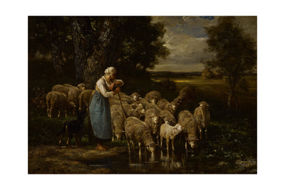 Shepherdess and Sheep, Fontainebleau Giclee Print by Charles Emile Jacque