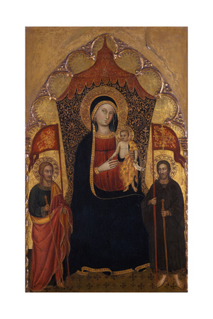Enthroned Madonna and Child with the Apostle Jacob the Elder and St. Ranieri, C.1410-20 Giclee Print by Turino Vanni
