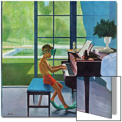 """""""Poolside Piano Practice,"""" June 11, 1960 Posters by George Hughes"""