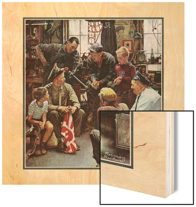 """Homecoming Marine"", October 13,1945 Wood Print by Norman Rockwell"