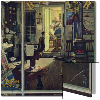 """Shuffleton's Barbershop"", April 29,1950 Prints by Norman Rockwell"