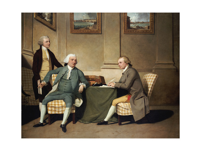 Group Portrait of Sergeant-At-Arms Bonfoy, His Son, and John Clementson, Sen Giclee Print by John Hamilton Mortimer