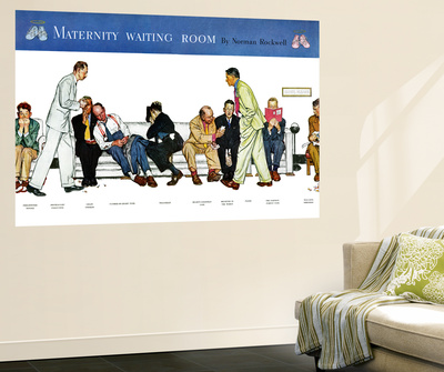 """Maternity Waiting Room"", July 13,1946 Wall Mural by Norman Rockwell"