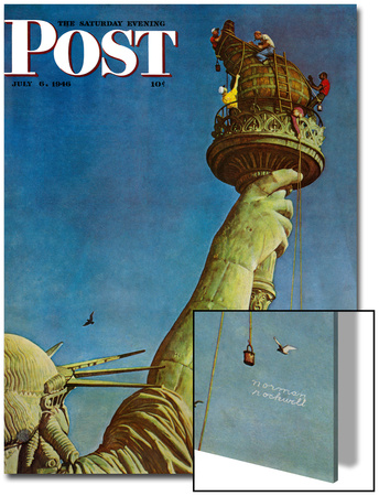 """""""Working on the Statue of Liberty"""" Saturday Evening Post Cover, July 6,1946 Posters by Norman Rockwell"""