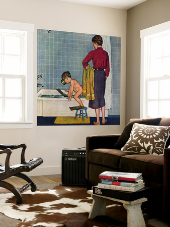 """""""Scuba in the Tub"""", November 29, 1958 Wall Mural by Amos Sewell"""