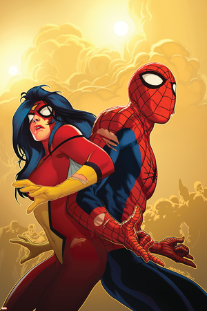 New Avengers No.59 Cover: Spider-Man and Spider Woman Poster by Stuart Immonen