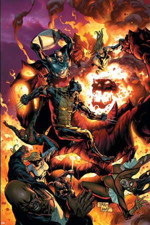 New Avengers No.54 Cover: Wolverine, Spider-Man, Dormammu and Captain America Prints by Billy Tan