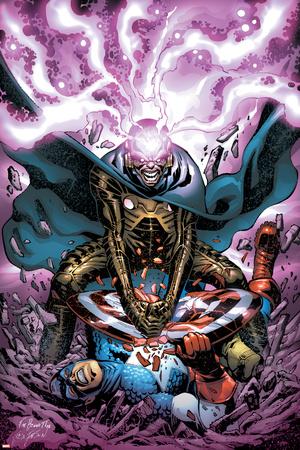 Captain America And The Falcon No.11 Cover: Modok and Captain America Prints by Joe Bennett