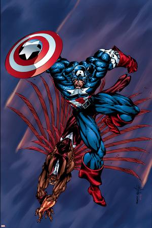 Captain America & The Falcon No.4 Cover: Captain America and Falcon Print by Bart Sears