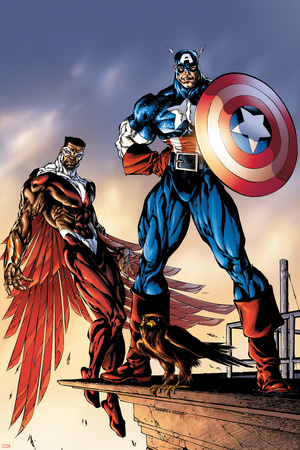 Captain America And The Falcon No.3 Cover: Captain America and Falcon Poster by Bart Sears