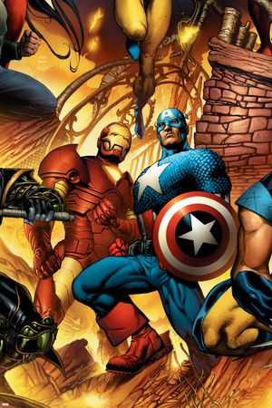New Avengers No.6 Cover: Iron Man and Captain America Print by Bryan Hitch