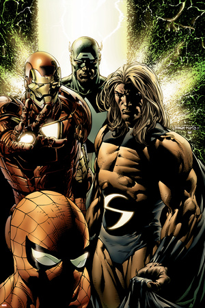 New Avengers No.8 Cover: Captain America, Sentry, Iron Man, Spider-Man and New Avengers Posters by Steve MCNiven