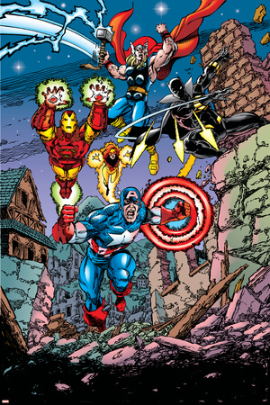 Avengers No.21 Cover: Captain America, Thor, Iron Man, Black Panther and Avengers Posters by George Perez