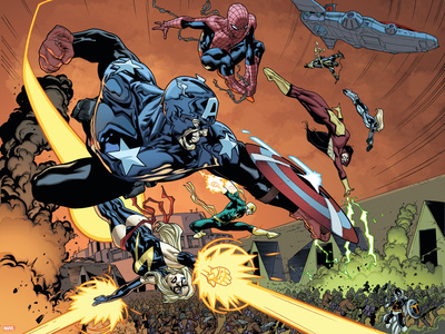 New Avengers No.59 Group: Captain America, Ms. Marvel, Spider-Man, Iron Fist and Spider Woman Photo by Stuart Immonen