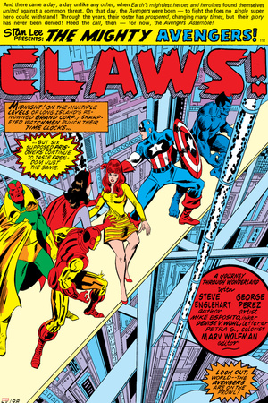 Avengers No.144 Group: Captain America, Iron Man, Vision, Beast and Avengers Flying Poster by George Perez