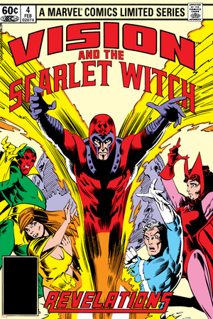 Vision And The Scarlet Witch No.4 Cover: Magneto, Vision, Scarlet Witch, Quicksilver and Crystal Prints by Rick Leonardi