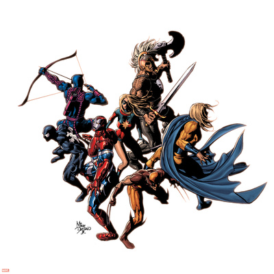 Dark Avengers No.12 Cover: Wolverine, Iron Patriot, Sentry, Spider-Man, Hawkeye, Ms. Marvel & Ares Prints by Mike Deodato
