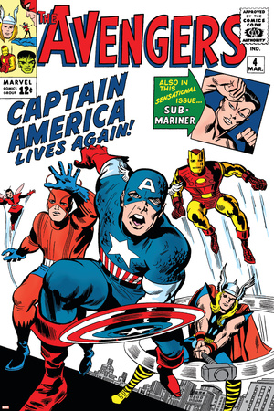 Avengers Classic No.4 Cover: Captain America, Iron Man, Thor, Giant Man and Wasp Plakát