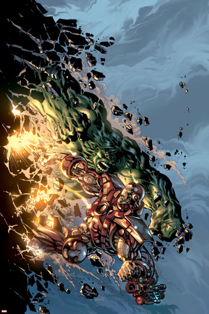 Incredible Hulk No.71 Cover: Hulk and Iron Man Print by Mike Deodato