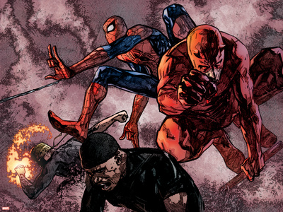 Daredevil No.60 Group: Daredevil, Spider-Man, Iron Fist, and Luke Cage Fighting Prints by Alex Maleev
