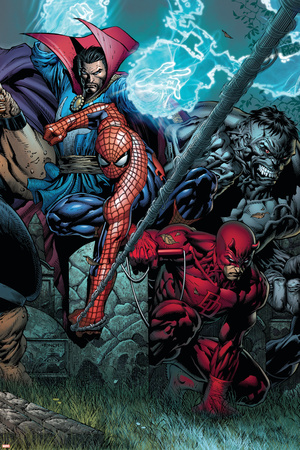 Ultimatum No.4 Cover: Spider-Man, Daredevil, Dr. Strange and Hulk Posters by David Finch