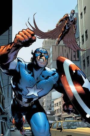 Captain America And The Falcon No.12 Cover: Captain America and Falcon Poster by Trevor Hairsine