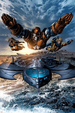 Dark Avengers No.2 Group: Iron Patriot, Ms. Marvel and Sentry Prints by Mike Deodato