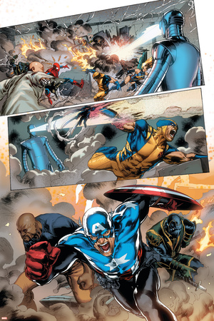 Agents of Atlas No.5 Group: Cage, Luke, Ronnin and Captain America Print by Carlo Pagulayan