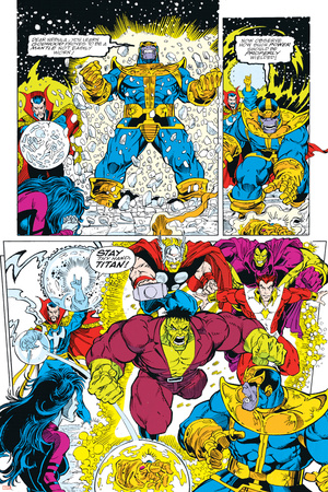 Infinity Gauntlet No.6 Group: Thanos, Hulk, Thor and Dr. Strange Posters by George Perez