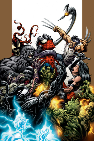 Ultimate Spider-Man No.71 Cover: Spider-Man, Wolverine, Green Goblin and Hulk Posters by Mark Bagley
