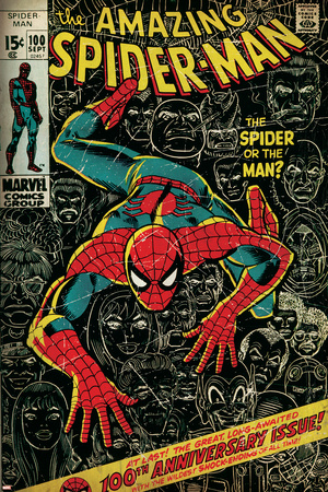 Marvel Comics Retro: The Amazing Spider-Man Comic Book Cover No.100, 100th Anniversary Issue (aged) Plakát