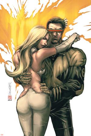 New X-Men No.156 Cover: Cyclops, Emma Frost and Phoenix Print by Salvador Larroca