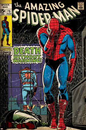 Marvel Comics Retro: The Amazing Spider-Man Comic Book Cover No.75, Death Without Warning! (aged) Posters
