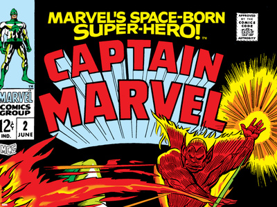 Captain Marvel No.2 Cover: Super Skrull and Captain Marvel Swinging Posters by Gene Colan