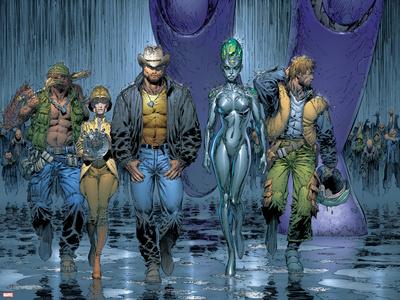 New X-Men No.152 Group: Wolverine, Beak, Nova, Cassandra and E.V.A. Prints by Marc Silvestri