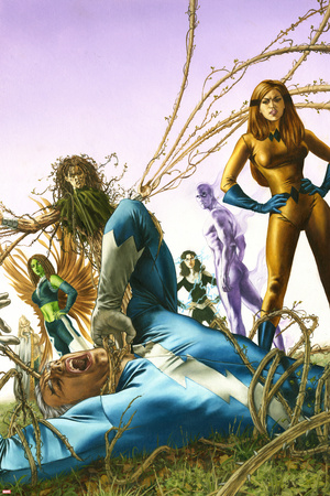 Son Of M No.3 Cover: Quicksilver and Crystal Posters by Roy Allan Martinez