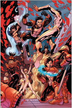 New X-Men No.19 Group: Hellion, Surge, Hellions and New Mutants Prints by Aaron Lopresti