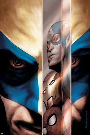 Wolverine No.40 Cover: Wolverine, Captain America, Iron Man and Spider-Man Poster by Javier Saltares