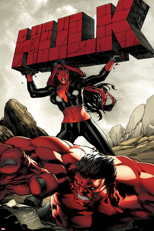 Hulk No.47 Cover: Red She-Hulk and Red Hulk Prints by Carlo Pagulayan
