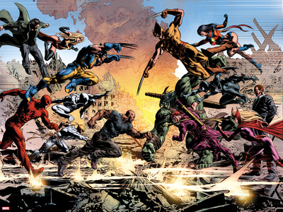 New Avengers No.20: Daredevil, Luke Cage, Iron Fist, Spider-Man, Dr. Strange and Others Fighting Poster by Mike Deodato