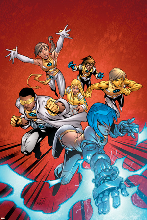New X-Men No.2 Cover: Surge, Prodigy, Wind Dancer and New X-Men Print by Randy Green