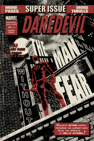Daredevil Black & White No.1 Cover: Daredevil Standing on a Rooftop Prints by David Aja