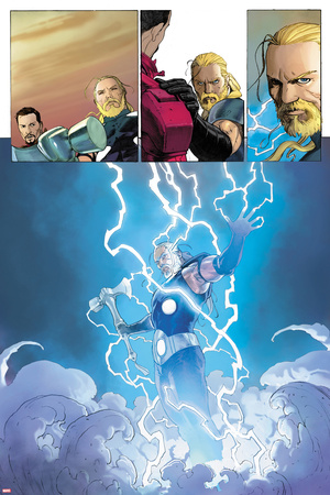 Ultimate Comics Ultimates No.3: Thor Flying in Lightining and Energy Prints by Esad Ribic