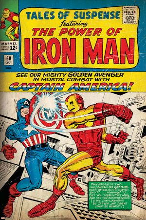 Marvel Comics Retro: The Invincible Iron Man Comic Book Cover No.58, Facing Captain America (aged) plakat