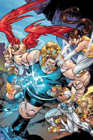 New X-Men No.15 Group: Blob, Prodigy, Elixir, Wind Dancer and Surge Fighting Photo by Michael Ryan